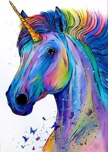 wholesale 5D Full Diamond Painting Colorful Unicorn Square Round Rhinestone Drill Hand Embroidery Home Art Decor Personalise Gift