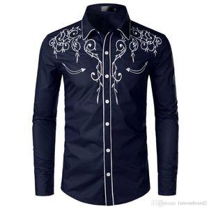 Chemises Baissez col Fashion manches longues Chemises Designer Mens broderie