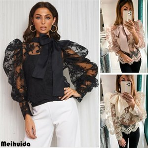 New Sweet Lace shirt Mulheres Splicing malha Sheer Longo Puff luva Blusa oco Lace-up da Base Shirts