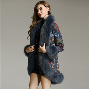 High-end winter trench coats women vintage Elegant Floral woolen embroidery loose lady outwear  hair overcoat female M-XXL