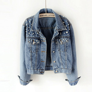 New HOT Boyfriend Jeans Jacket Women Pearls Giacche di jeans oversize Vintage manica lunga Cappotto casual Ladies Bomber monopetto