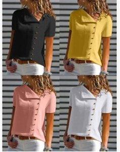 Femmes en mousseline de soie Designer Blouses manches courtes été Lapel Neck Shirts Femme simple boutonnage pur Vêtements Couleur