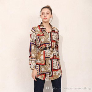 Bowknot Cardigan Women Blouses Summer Loose Button Printed Lapel Neck Shirts Long Sleeve Ladies Party Street Clothing