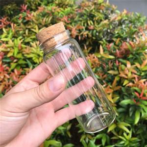 150ml frascos de vidro com cortiça Transparente Mini vazio Pill vidro Frascos Frascos Container Saffron Food botlles 12pcs / lot