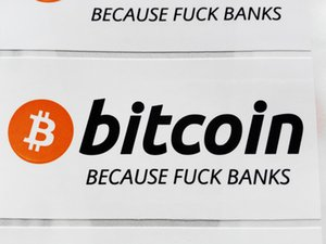 120pcs lot 8x4cm bitcoin because love bank stickers Self-adhesive cryptocurrency label with gloss lamination on surface, Item No. FS19