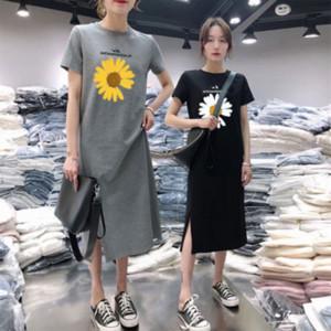 ins super fire crisantemo camiseta impresa de la falda partida camiseta de falda larga vestido elegante flojo medio-largo del vientre cubriendo de manga corta