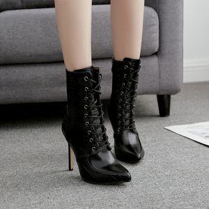Créateur de mode femmes sexy bottines noires 11cm talons hauts à lacets fête d'hiver chaussures de banquet chaussons martin