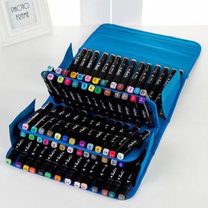 Animasyon Tasarımı İçin 3 Renk 80 Delik İşaretleyiciler Kalem Çanta Kırtasiye Sanat İşaretleyiciler Kalem Çanta Sanatçı Kroki Copic çantası