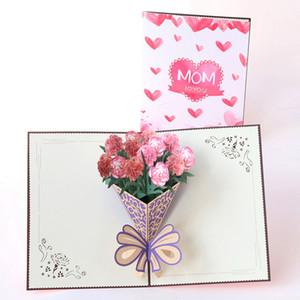 День учителя Поздравительная открытка Creative 3D гвоздика Букет Карты Бумага ручной работы Подарочные карты Благословения для подарка