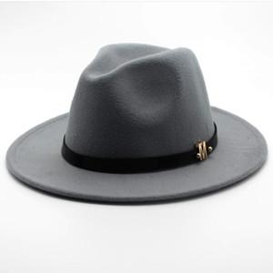 Seioum Nueva Marca de Lana de los hombres Sombrero de Fedora Negro Para Caballero de Lana de Ala Ancha Jazz Iglesia Cap Vintage Panama Sun Top Hat D19011102
