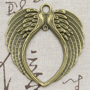 1pcs Charms Angel Wings 74x69mm Antique Silver Color Plated Pendants Making DIY Handmade Tibetan Silver Color Finding Jewelry