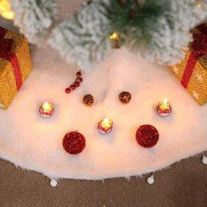 Arbre de Noël Arbre Jupe neige en peluche Tapis de sol Couverture Joyeux Noël Ornement Père Noël cerf Felt Party Salon Décoration LXL636-1
