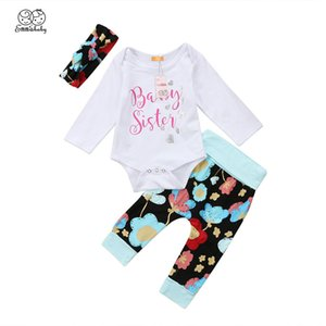 Toddler Newborn Baby Girls Baby Clothes Long Sleeve Bodysuit Fashion New Floral Pants Trousers Headband Clothing Outfit Set
