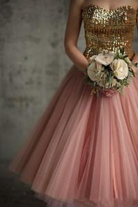 2019 новые винтажные золотые блестки платья невесты линия чая длина румянец розовый тюль коктейльные платья длина короткие платья невесты