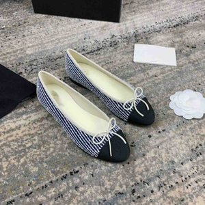 2019 fashion designer star web celebrity one-out-and-one-original flat shoes ballet shoes small fragrance bow leather handmade shoes ck005