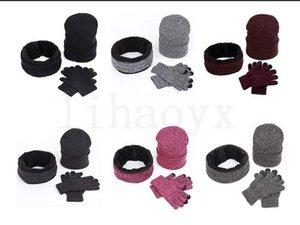 Chapéu de malha lenço lenço conjunto inverno de tricô unisex engrossar mais lenço de veludo Caps conjunto 3pcs / set DA005