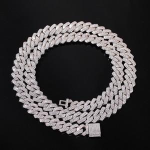 13мм Iced Out кубинских цепей ожерелья Мужской хип-хоп ожерелье для мужчин 18inch Золота Серебра