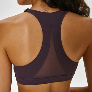 LU-87 Mesh Patchwork Sports Bra Top para mujer Fitness High Support Push Up Ladies Yoga Brassier Correa de hombro doble Girl Active Wear