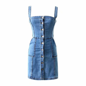Bayan toptan tek göğüslü bodycon elbise yüksek kalite moda Grunge Denim Tulum Askı Midi Jean Elbise