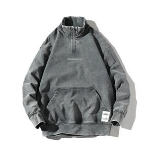 Mens Outono Inverno Hoodies manga comprida Pullover Crewneck capuz Mens confortáveis Washed Denim Jacket Qualidade garentee
