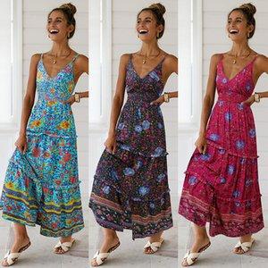 Impresión Vestido Flor En vacaciones Sandwind Beach Hem Tenedor de apertura de muchos niveles Hongo borde de la camiseta de la falda