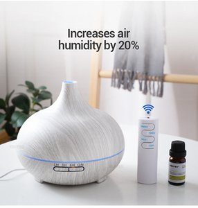 550ml ultrasuoni elettrico umidificatore Aroma Oil diffusore bianco Grana del legno telecomando 7 colori Luci per la casa a LED