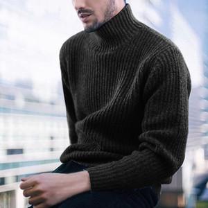 Para hombre del suéter del invierno del otoño de cuello alto de manga larga acanalada suéter caliente del invierno de punto suéteres de lana para hombre Puentes Pullover