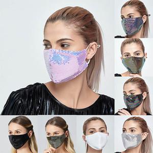 Máscara frete grátis Moda Bling Bling Lantejoula face Primavera-Verão ao ar livre Suncreen Anti-poeira respirável lavável Máscara Facial reutilizável