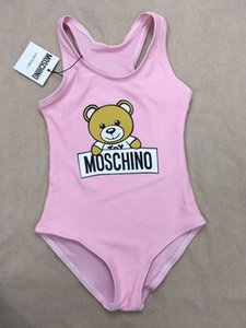 Hot Summer Kids Bear Pattern Swimwear Baby Girls Bikini Swimwear Traje de baño de una pieza Carta Trajes de baño