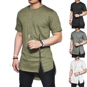 Camisetas Hombre Side Slit High Street Hip Hop Streetwear T shirt Uomo personalità Zipper Mens Tshirt Estate Hem Design arco T-shirt casual