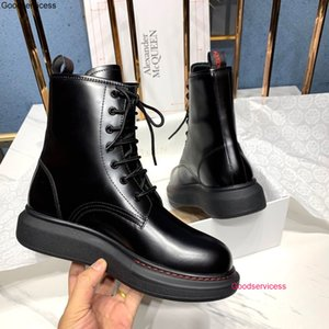 New Women Winter Leather Short Ankle Fashion Boots Thick Bottom Lace Up Short Boots wan1