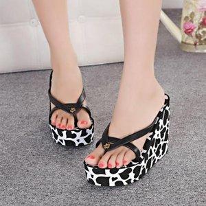 Womens Flip Flop Thongs Platform Heart Printed Wedge Super High Heel Summer Beach Slipper Sandals Shoes Slides 11CM 4Colors A13