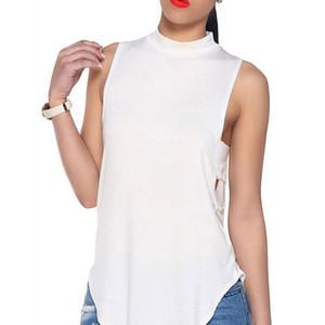 Yeni sıcak yaz kadın bluz bangage katı kolsuz blusas mujer feminina roupas moda camisa femme kadın bluz gömlek