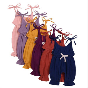 Kız Bebek Tulumu Çocuk Tasarımcı Giyim Yaz Tulumlar Bebek Dantel-up askı Bodysuits Katı Pamuk Onesies tulumları Giyim 5467 tırmanın