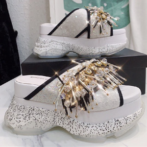 Prova Perfetto Fashion Rhinestones Comfortable Sandals Crystal Genuine Leather Woman shoes Thick bottom Gold scarpe donna estive