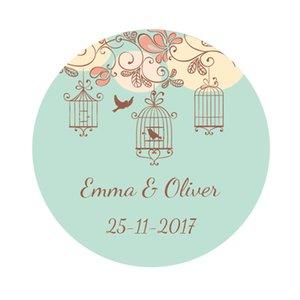 DouxArt 100 Pieces Custom Personalized, Wedding Stickers, 40mm Flowers Birds Wedding Favors Decoration Box Label Seals P028
