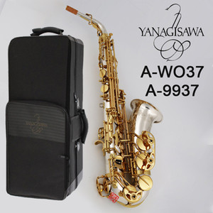 High quality Yanagisawa Alto Saxophone A-9937 A-WO37 Silver plated gold key body beautifully carved Alto Sax professional playing instrument