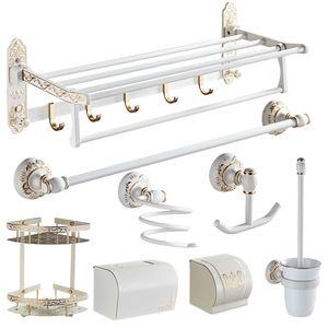 Accesorios de baño Set de aluminio plegable tallado toalla rack titular de papel higiénico cepillo titular de ajuste de hardware Blanco y Oro Bath