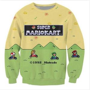 2020 caráteres mais novos Moda Unissex camisola Super Mario Kart 3D engraçado Imprimir Crewneck Sweatshirt Mens Mulheres Estilo capuz WY014