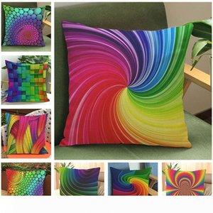 A New Rainbow Color Linen Cotton Throw Pillow Covers 45*45 CM Square Shape Pillowcase Back Cushion Case Sofa Living Room Hotel Home Dec