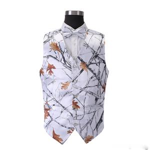 2018 yeni stil beyaz Avcılık damat Yelekler ile Yosunlu Meşe Camo Smokin Yelek kravat erkek Camo Düğün Yelekler Kamuflaj Avcılık yelek