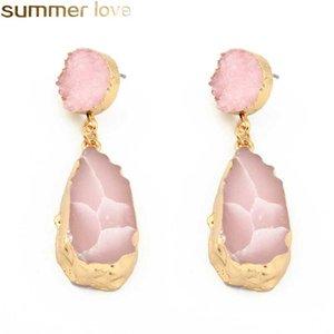 Moda Geométrica Druzy Resina Brincos Glittery Acrílico Pedra Dangle Brinco Banhado A Ouro para As Mulheres Melhor Presentes de Jóias