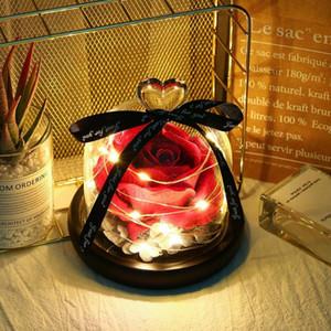 Exclusivo eterna Rose en cristal de la bóveda La belleza y la bestia de rosa romántica de San Valentín regalos del día de Navidad Presentes del regalo de vacaciones