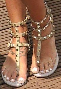 Zapatos Mujer Farbe Nieten Spiked Gladiator Flache Sandalen Steine verzierte Flip Sandale Big Size Damen Günstige Schuhe Sommer