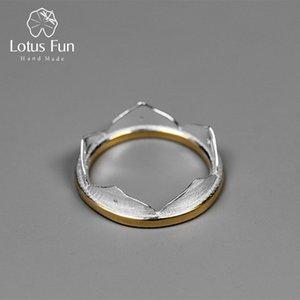 Lotus Fun real prata esterlina 925 Natural criativa Handmade Belas minimalista jóia da flor de Lotus Anéis para as Mulheres