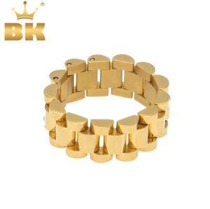 Top Qualität Größe 8-12 Hip Hop Melody Ehsani Band Ring Herren Edelstahl Gold Farbe Präsident Armband Link Style Ring