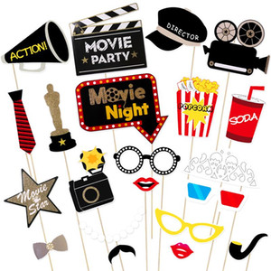 Fiesta de cumpleaños de la máscara 21pcs del partido del estilo de Hollywood de la fiesta de Bachelorette Atrezzo decoración de la boda del bigote