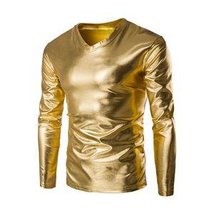 Мужские лакированной кожи с длинным рукавом Футболка Ночной Стиль Metallic Блестящий Hip Hop пуловер T-Shirt Прохладный золото с покрытием Camiseta Tops