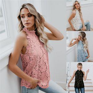 Frauen-Entwerfer-Spitze-Sleeveless T-Shirts Weiblichen Rundhalsausschnitt Fest Tees Sexy Damen Sommer Tops