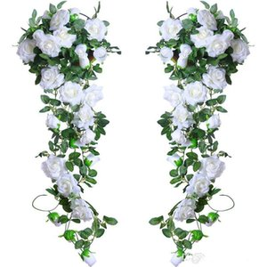 2 M uzun Yapay Gül Vine İpek Çiçek Garland Asılı Sepetleri ivy rattan Ev Açık Düğün Kemer Bahçe Duvar Dekorasyon